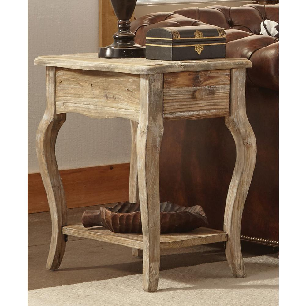 Alaterre Furniture Rustic Driftwood Storage End Table