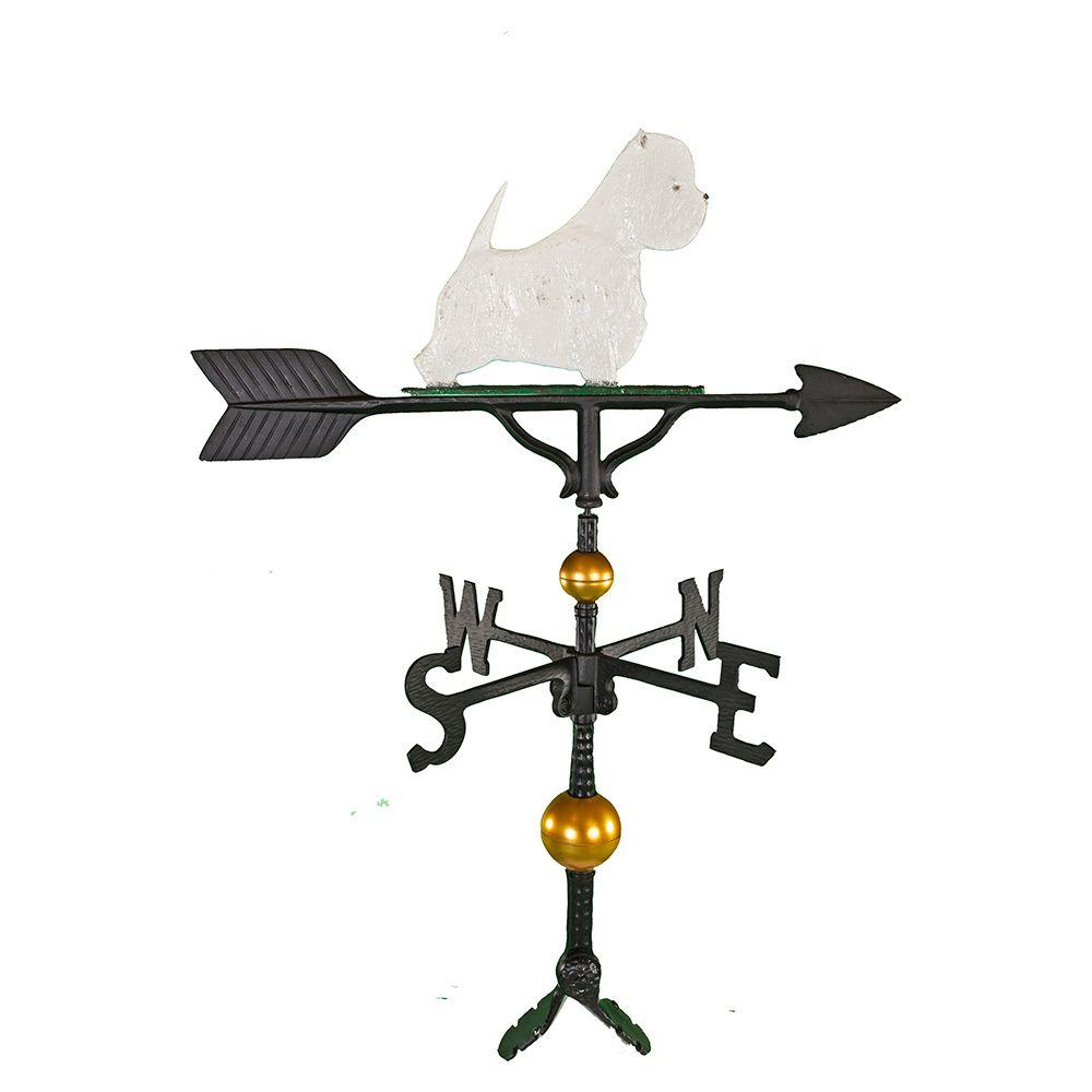 Montague Metal Products 32 in. Deluxe Black West Highland White Terrier Weathervane