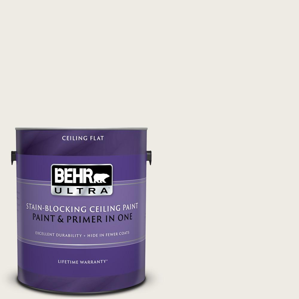 BEHR ULTRA 1 gal. #PPU7-12 Silky White Ceiling Flat Interior Paint and Primer in One