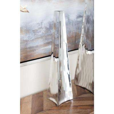 15 in. Stainless Steel Arrowhead Decorative Vase in Silver