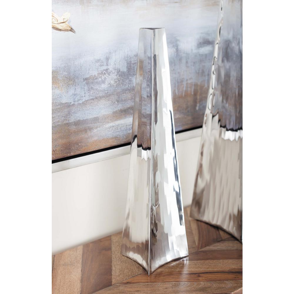 Litton Lane 15 in. Stainless Steel Arrowhead Decorative Vase in Silver