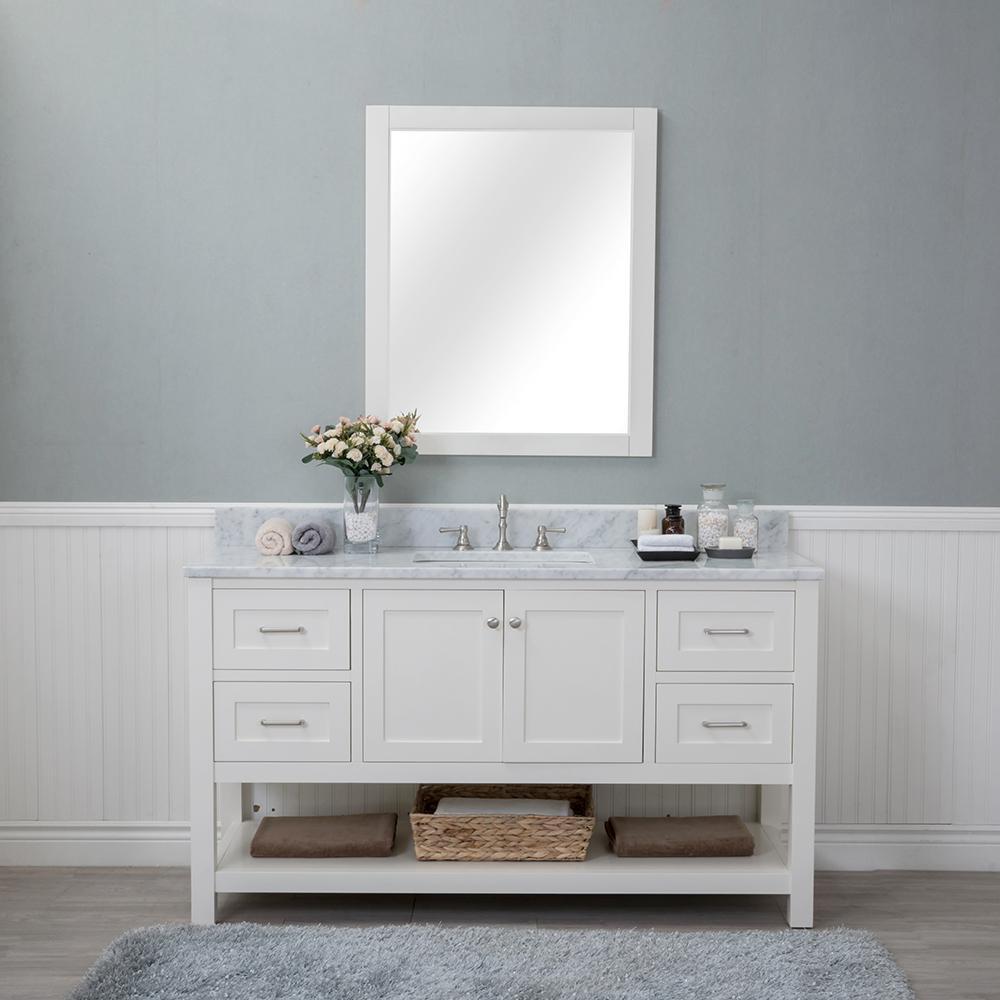 Wilmington 60 in. W x 22 in. D Vanity in Linen White with Marble Vanity Top in White with White Basin and Mirror