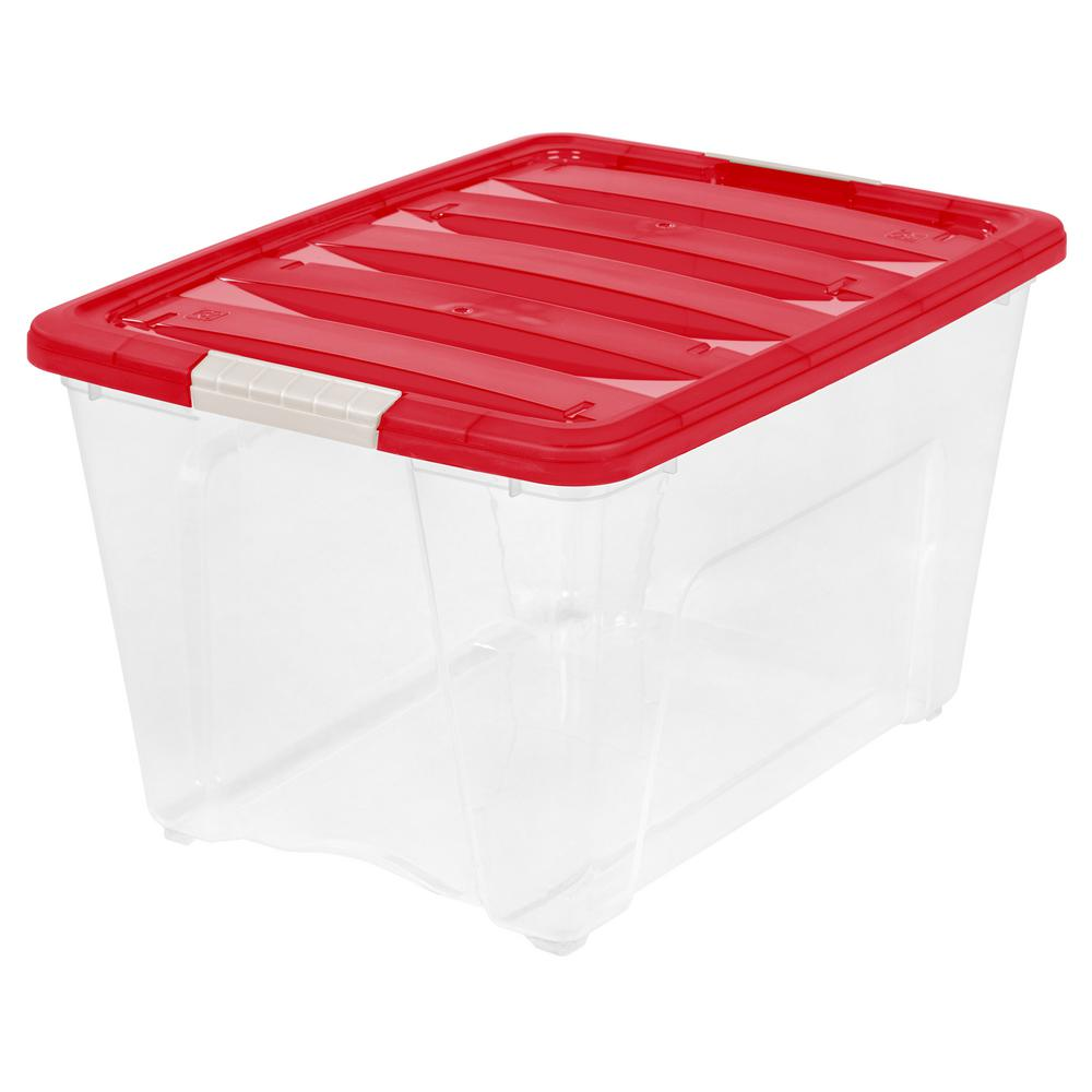 IRIS 54 Qt Holiday Storage Tote in Red 550016 The Home Depot