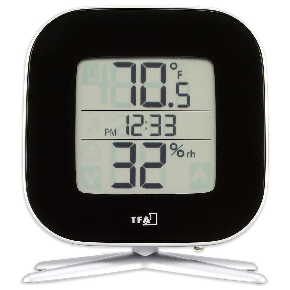 Tivi Digital Black Thermo-Hygrometer with Time