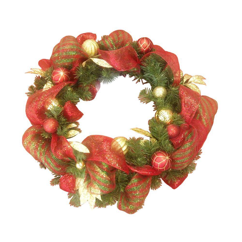 null 30 in. Deco Mesh Artificial Wreath