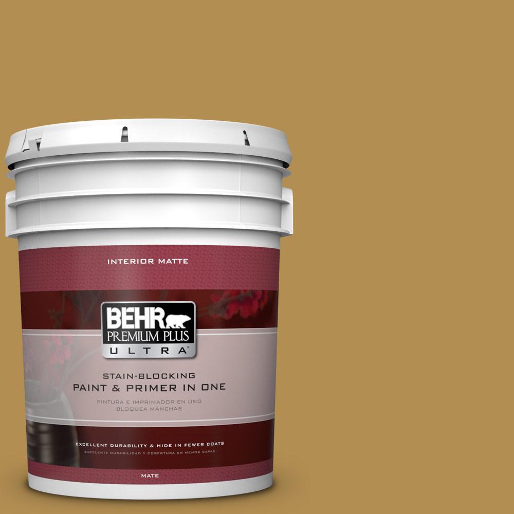 BEHR Premium Plus Ultra 5 gal. #350D-6 Bronze Green Flat/Matte Interior Paint