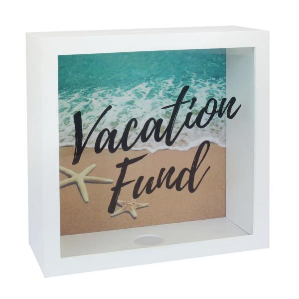 10 in. x 10 in. White Square MDF Vacation Fund Bank
