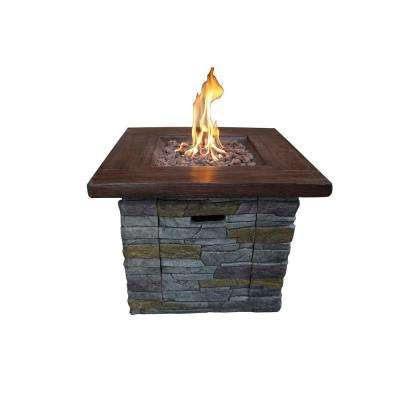 Vesuvius 30 in. x 24 in. Square MGO Gas Fire Pit in Brown