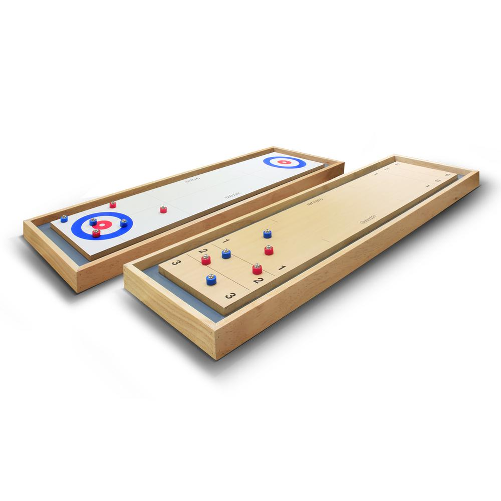 GOSPORTS Shuffleboard And Curling In Table Top Board Game With - Portable shuffleboard table