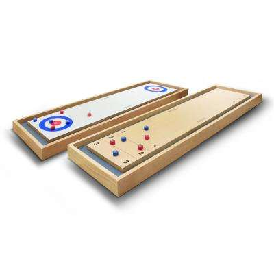 Shuffleboard and Curling 2 in 1 Table Top Board Game with 8 Rollers - Great for Family Fun