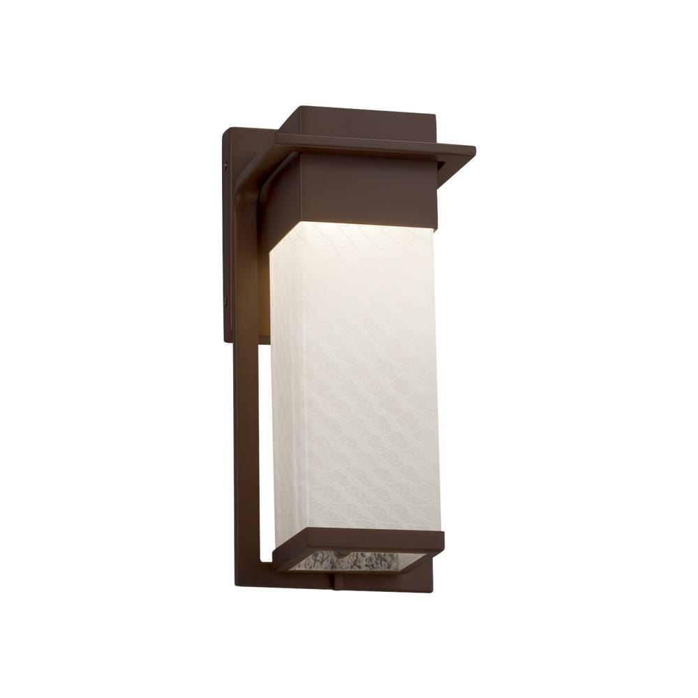 Justice Design Fusion Pacific Dark Bronze Outdoor Integrated LED Wall Lantern Sconce with Weave Shade