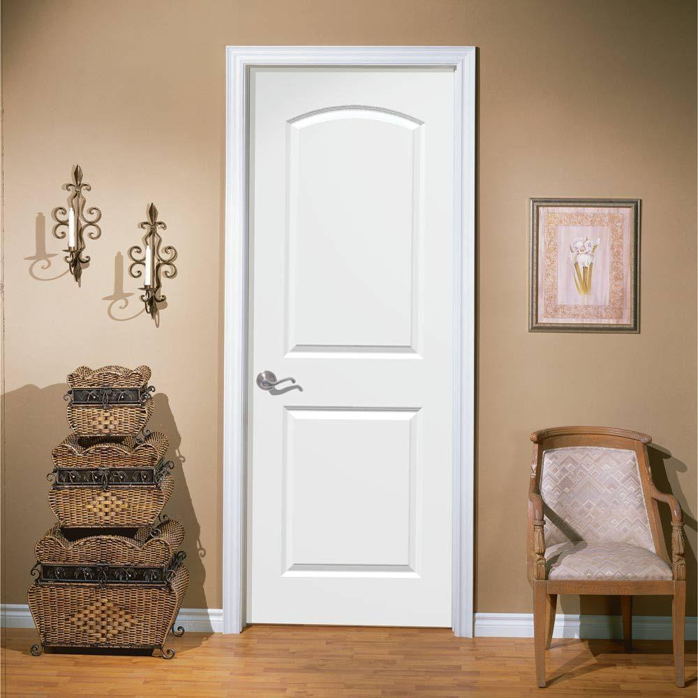 Masonite 36 In X 80 In Roman Primed Smooth 2 Panel Round Top Hollow Core Composite Interior Door Slab With Bore 25864 The Home Depot