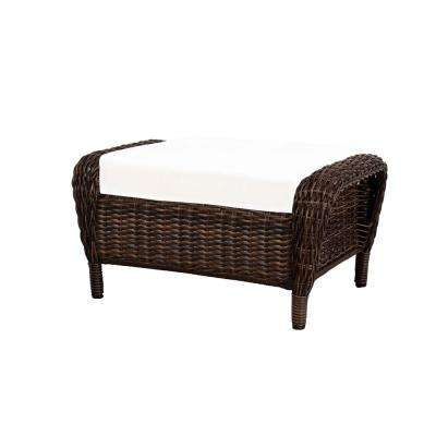 Cambridge Brown Wicker Outdoor Patio Ottoman with Bare Cushions