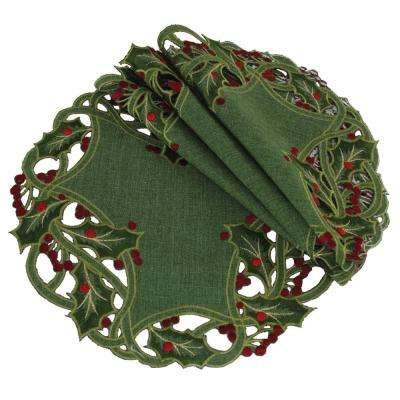 16 in. Green Holiday Holly Embroidered Cutwork Round Doily (4-Set)