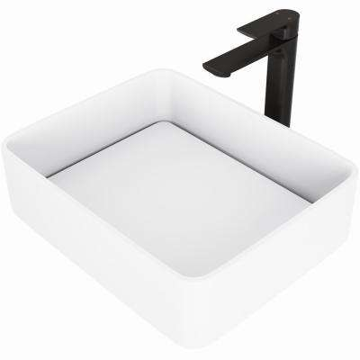 Jasmine Vessel Sink in White Matte Stone with Norfolk Faucet in Matte Black and Pop-Up Drain Included