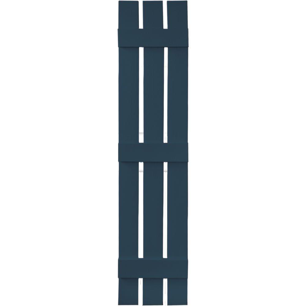 12 in. x 59 in. Board-N-Batten Shutters Pair, 3 Boards Spaced #036 Classic Blue