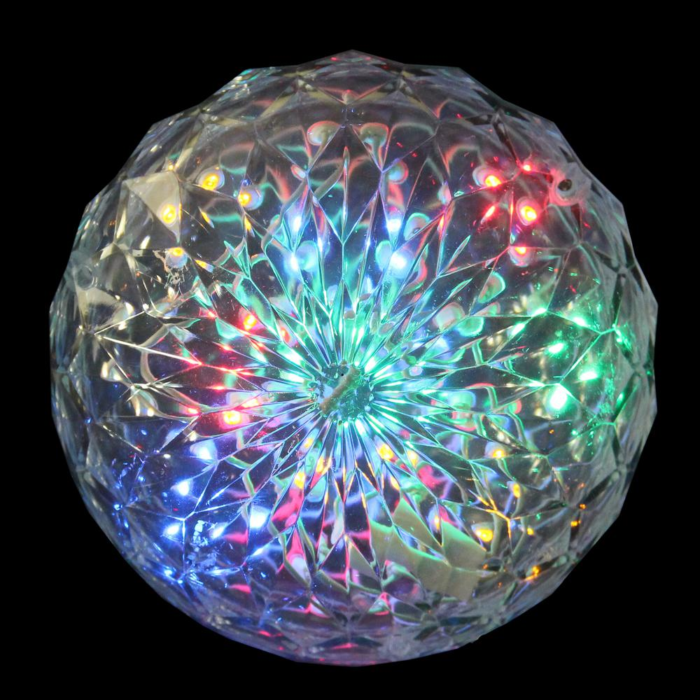Northlight 6 in LED Multi Color Hanging Crystal Sphere Ball Outdoor Christmas Decoration