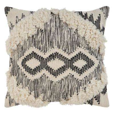 Ranch Style Ivory and Black 20 in. x 20 in. Throw Pillow