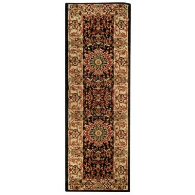 Pasha Collection Black 2 ft. x 7 ft. Runner Rug