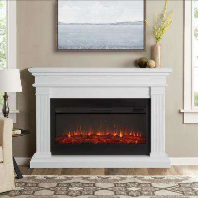 Beau 59 in. Freestanding Electric Fireplace in White
