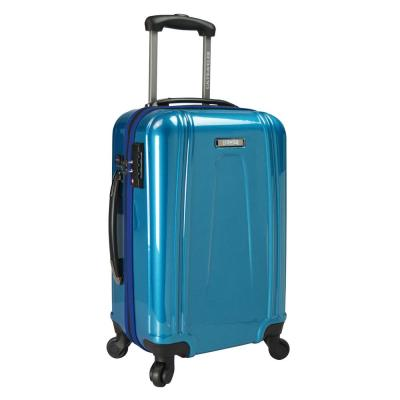 22 in. Teal USB Port EZ-Charge Carry-On Spinner Suitcase, Teal
