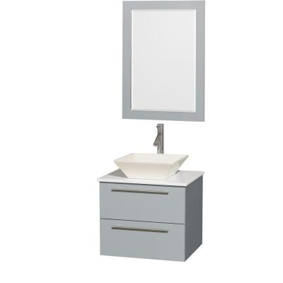 Amare 24 in. W x 19.5 in. D Vanity in Dove Gray with Solid-Surface Vanity Top in White with Bone Basin and 24 in. Mirror