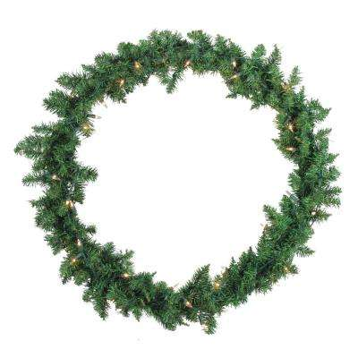 30 in. Pre-Lit Buffalo Fir Artificial Christmas Wreath with Clear Lights