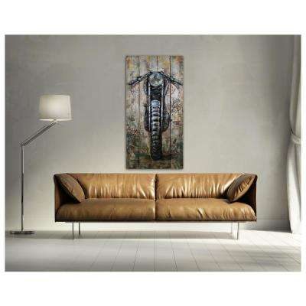 "27 in. x 55 in. ""Motorcyle"" Metal on Wood Wall Art"