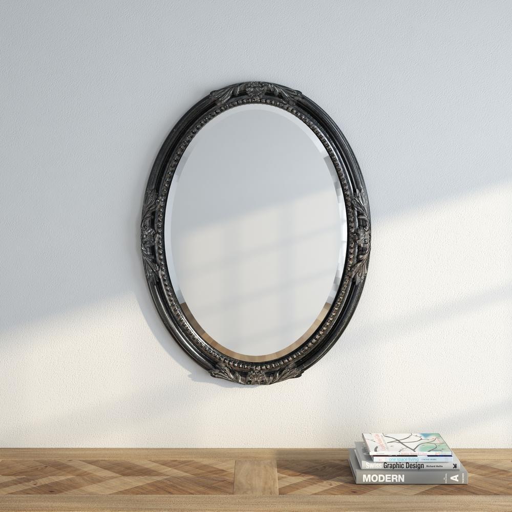 33 in. x 25 in. Queen Ann Antique Black Mirror