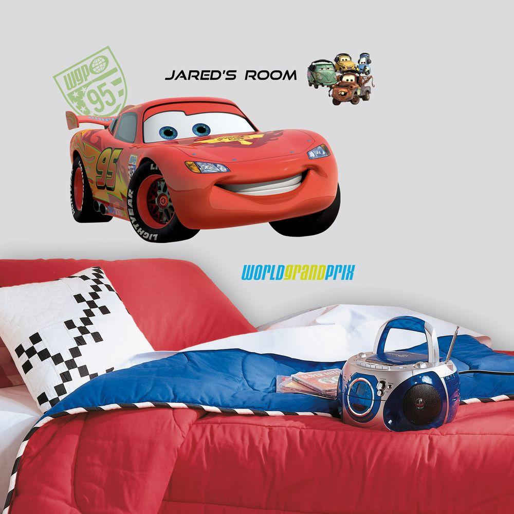 RoomMates Cars 2 Lightening Peel and Stick Giant Wall Decor with Personalization