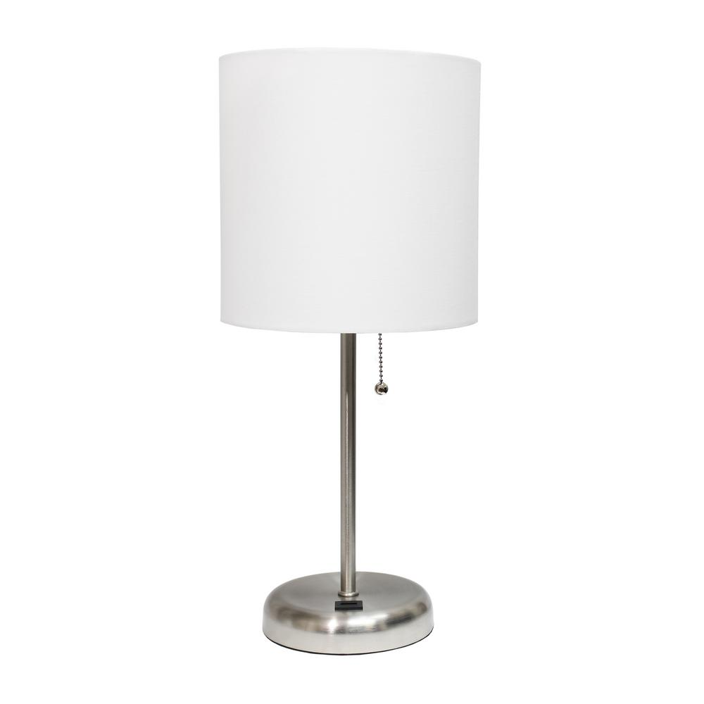 19.5 in. White Stick Lamp with USB Charging Port and Fabric Shade