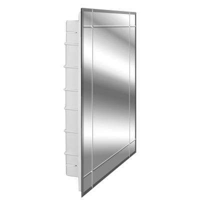 Vega 16 in. x 26 in. x 3-1/2 in. Frameless Recessed 1 Door Medicine Cabinet with 6 Shelves and Four Groove Mirror