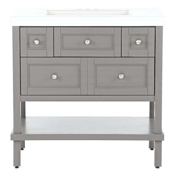 Ashland 37 in. W x 19 in. D Bathroom Vanity in Taupe Gray with Cultured Marble Vanity Top in White with White Sink