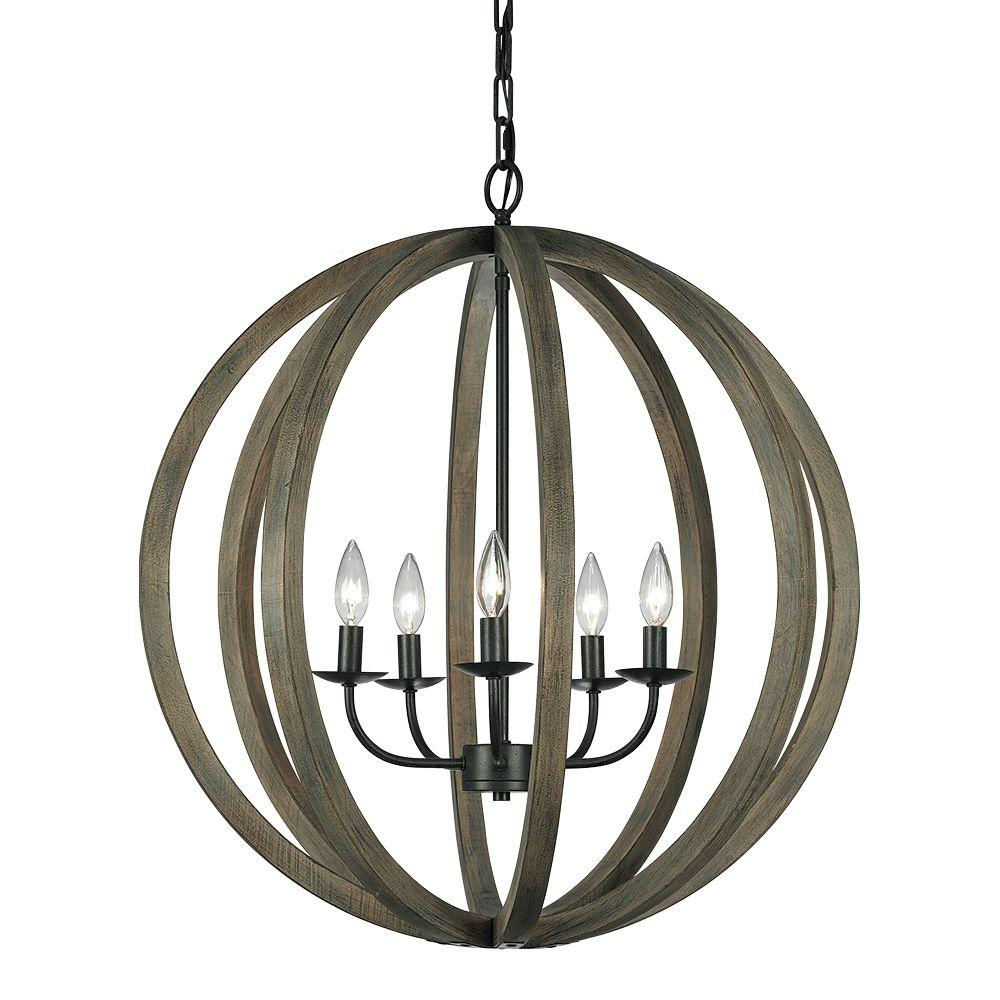 Feiss Allier 5-Light Weathered Oak Wood/Antique Forged Iron Large Pendant