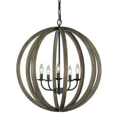 Allier 26 in. W. 5-Light Weathered Oak Wood/Antique Forged Iron Large Pendant