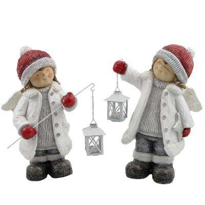 Set of 2 Angel Figurines with Lanterns