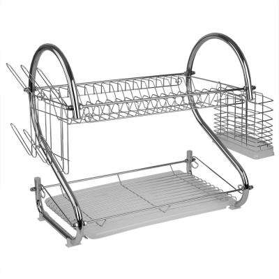 Chrome 2-Tier S Shape Standing Dish Rack
