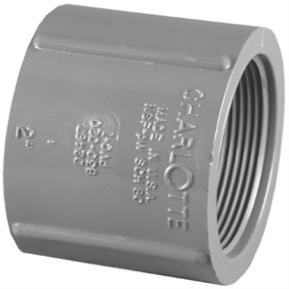 Charlotte Pipe 1-1/2 in. PVC Schedule 80 Coupling FPT x FPT