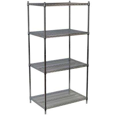 63 in. H x 36 in. W x 18 in. D 4-Shelf Steel Wire Shelving Unit in Chrome
