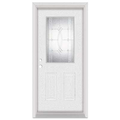 36 in. x 80 in. Diamanti Classic Right-Hand 1/2 Lite Zinc Finished Fiberglass Oak Woodgrain Prehung Front Door