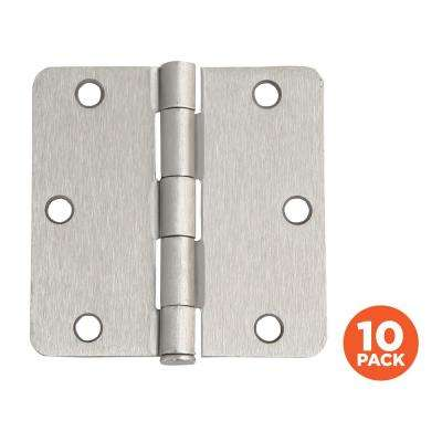 3-1/2 in. x 1/4 in. Radius Satin Nickel Door Hinge Value Pack (10 per Pack)
