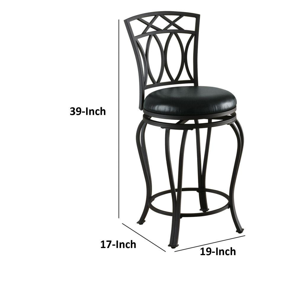 Fabulous Benjara Traditional 39 In Black Swivel Counter Height Stool Uwap Interior Chair Design Uwaporg