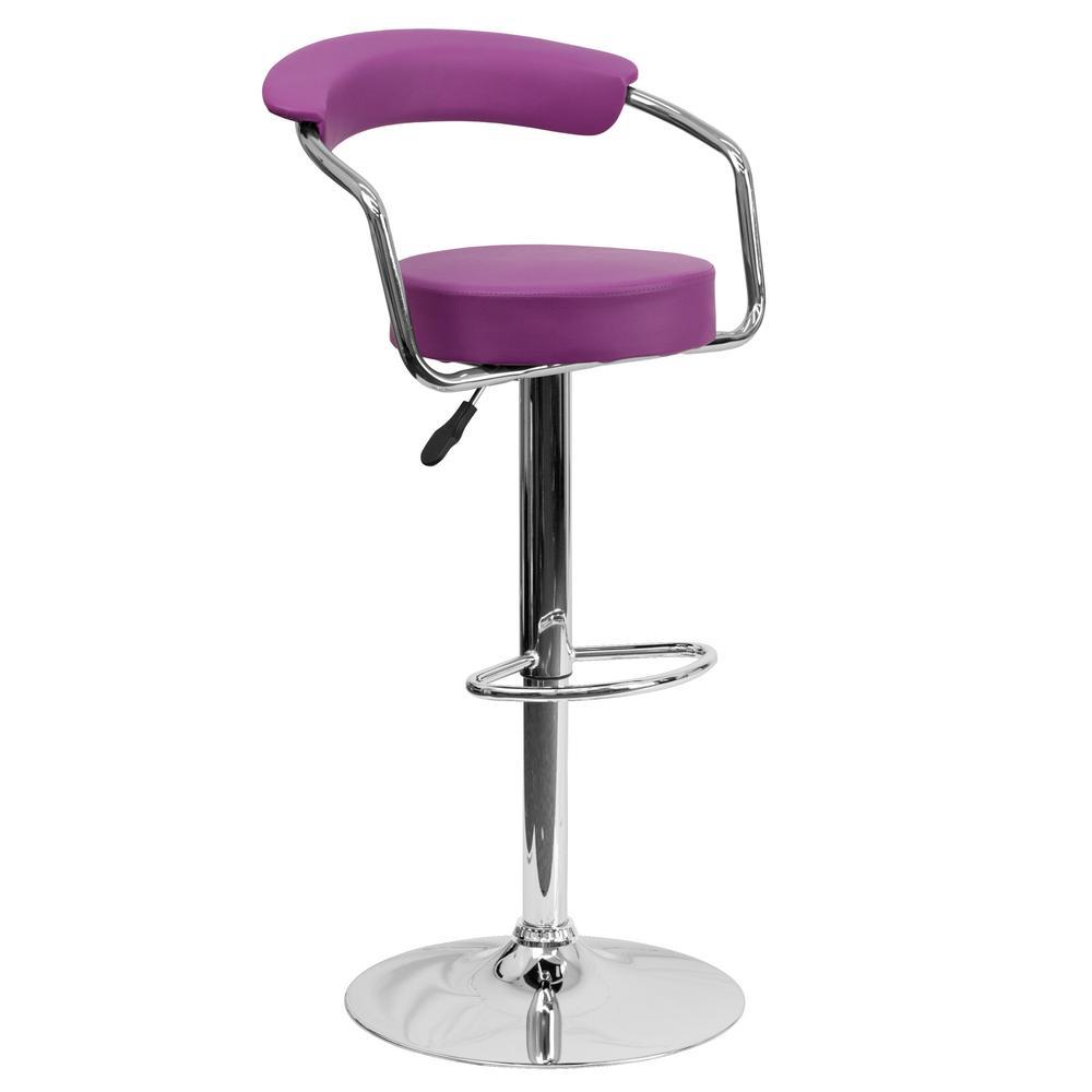 Flash furniture adjustable height purple cushioned bar stool