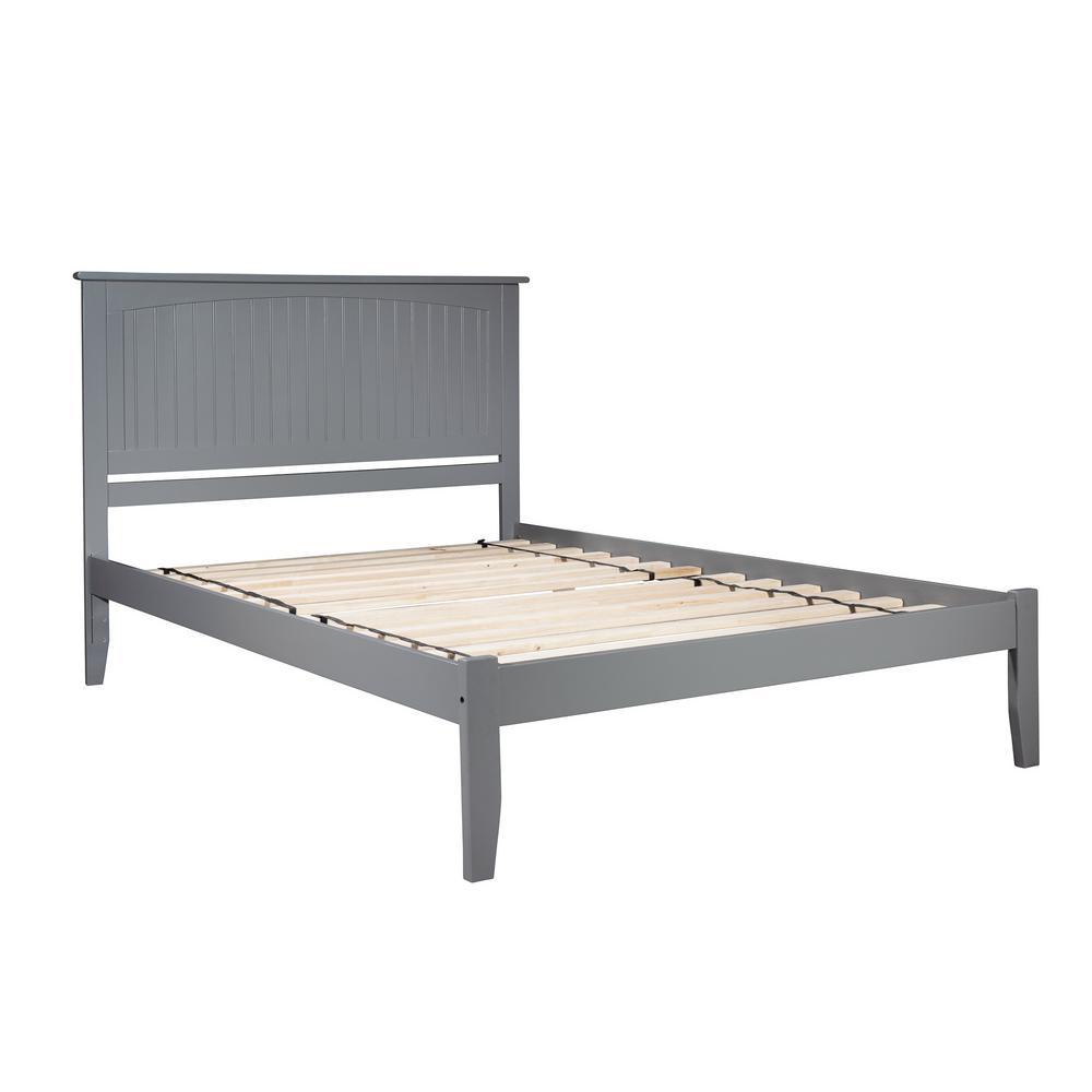 Nantucket Queen Platform Bed with Open Foot Board in Grey