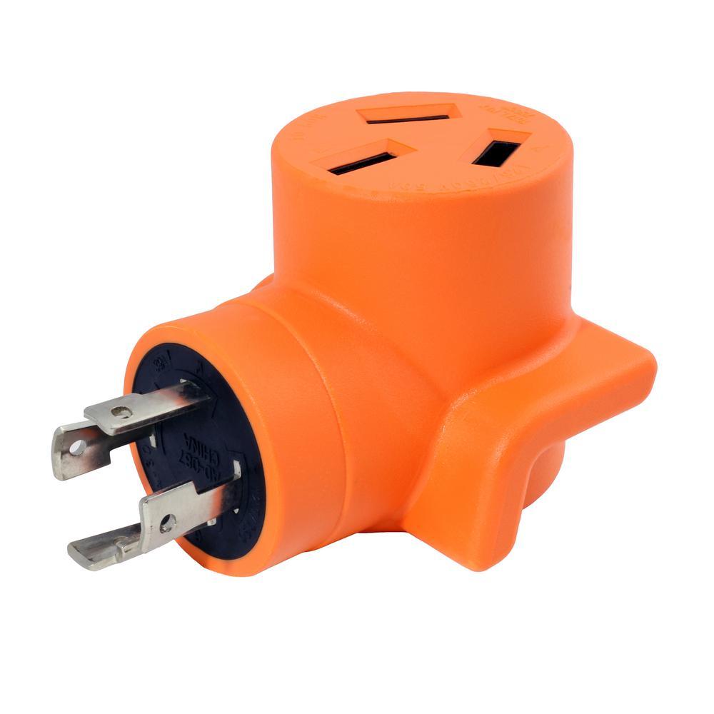 AC WORKS 30 Amp 4-Prong L14-30P 30 Amp Generator Locking Plug to 10-50R 50 Amp 125-Volt/250-Volt Welder... by AC WORKS