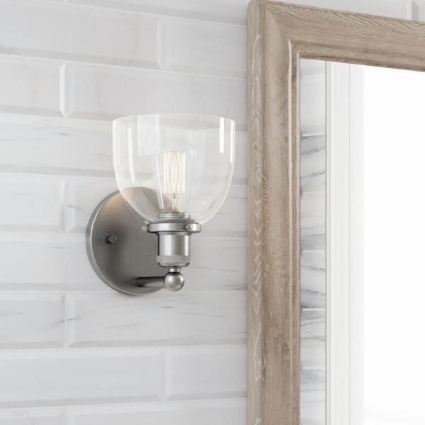 Home Decorators Collection Evelyn 1 Light Brushed Nickel Wall Sconce Hb2623 35 The Home Depot
