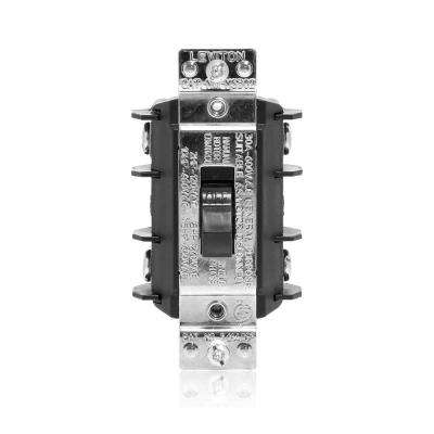 30 Amp 600 Volt Industrial Grade Double Pole Single Phase AC Manual Motor Controller Short Toggle Switch - Black