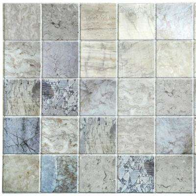3D Falkirk Retro 10/1000 in. x 38 in. x 19 in. Blue Beige Faux Distressed Marble Squares PVC Wall Panel