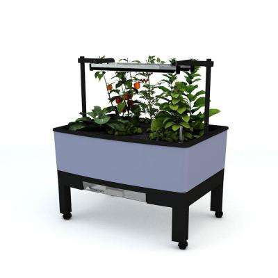 World Garden (Growers Pckg) 33.5 in. x 24.25 in. x 23 in. Grey In/Outdoor Self Watering Garden T5 Lights,Timer, BPA-free