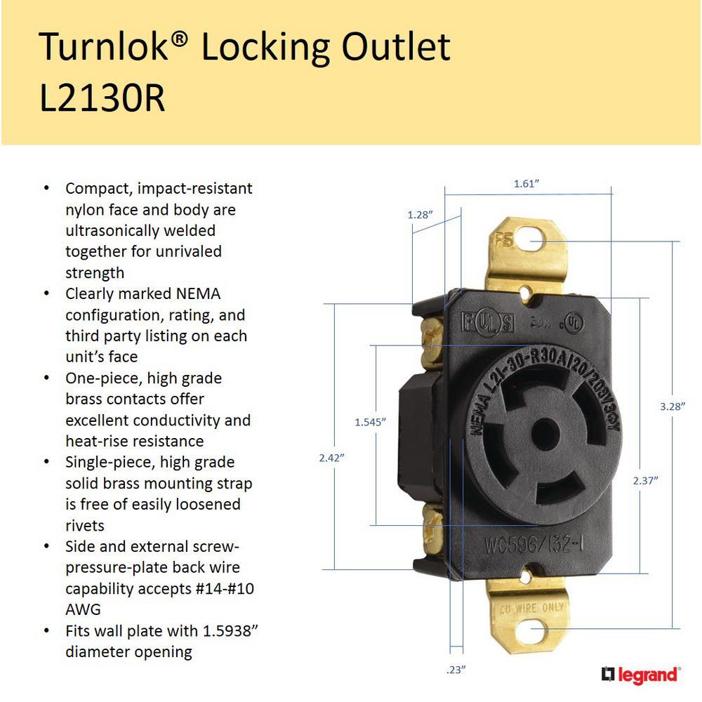 P/&S 30 Amp 30Y,120//208v 4W Flush Mount Locking Receptacle, NEMA L21-30R 3P